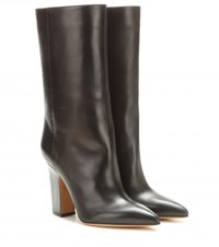 Valentino Leather And Snakeskin Boots Black