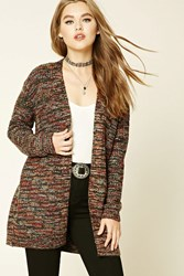 Forever 21 Marled Knit Cardigan Black Peach