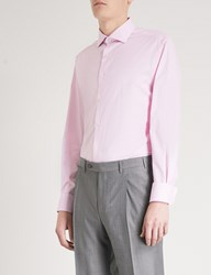Smyth And Gibson Subtle Checked Tailored Fit Cotton Shirt Pink