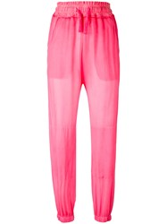 Amen Drawstring Waist Trousers Pink Purple