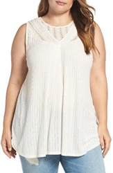 Lucky Brand Plus Size Women's Lace Yoke Tank Marshmallow