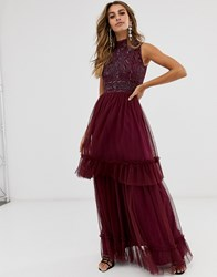 Frock And Frill High Neck Highly Embellished Sleeveless Midi Dress Purple
