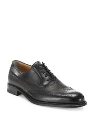 A. Testoni Wingtip Laser Cut Oxford Shoes Black