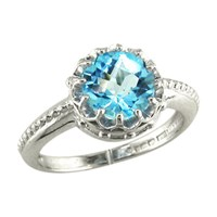 London Road 9Ct Gold Coronet Ring Blue Topaz