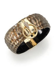 Alexis Bittar Lakana Lucite And Crystal Crocodile Embossed Liquid Ring Bangle Bracelet Gold Beige
