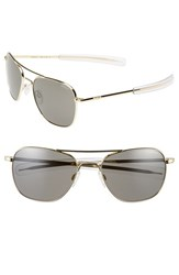 Women's Randolph Engineering 58Mm Aviator Sunglasses Gold Grey