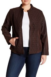 Live A Little Lace And Faux Leather Jacket Plus Size Brown