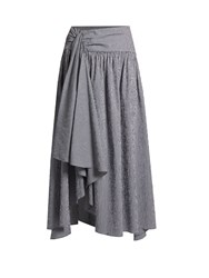 Rosie Assoulin Asymmetric Hem Gingham Stretch Cotton Skirt Navy White