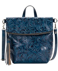 Patricia Nash Burnished Tooled Luzille Convertible Backpack Indigo