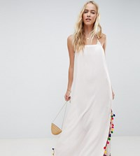 Akasa Maxi Pom Pom Beach Dress White
