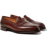 Edward Green Piccadilly Leather Penny Loafers Brown