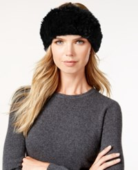 Surell Stretchy Sheared Rabbit Fur Headband Neckwarmer Black
