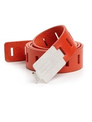 Maison Martin Margiela Logo Buckle Leather Belt Red