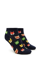 Forever 21 Animal Print Ankle Socks Navy Multi