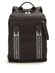 Dolce And Gabbana Logo Leather Trimmed Backpack Black Multi