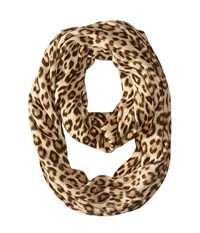 Michael Michael Kors Leopard Raschel Large Infinity Scarf Caramel Combo Scarves Tan
