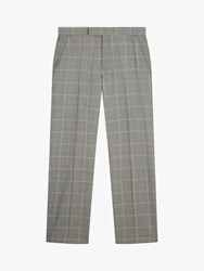 Jaeger Wool Check Regular Fit Suit Trousers Light Grey