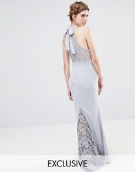 Jarlo Wedding High Neck Lace Maxi Dress With Bow Back Silver Grey
