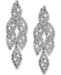 Inc International Concepts Silver Tone Crystal Leaf Drop Earrings Only At Macy's