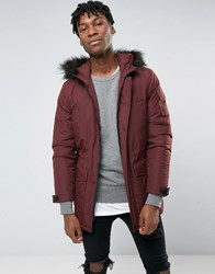Asos Parka Jacket With Faux Fur Trim In Burgundy Re1 Red 1