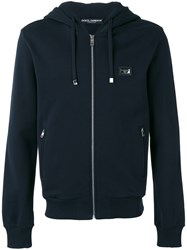 Dolce And Gabbana Drawstring Zip Hoodie Black