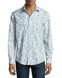 1 Like No Other Circle Print Button Front Sport Shirt Blue