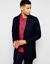 Pull And Bear Pullandbear Overcoat With Wool Blend In Navy Blue