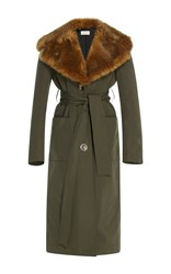 Isa Arfen Faux Fur Trenchcoat With Cotton Belt Green