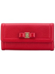 Salvatore Ferragamo Fold Over Wallet Women Calf Leather One Size Red