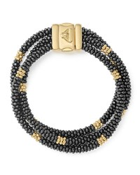 Lagos Three Strand Black Caviar And 18K Gold Bracelet