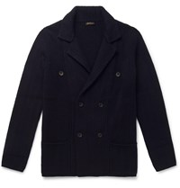 Rubinacci Double Breasted Ribbed Cashmere Cardigan Blue