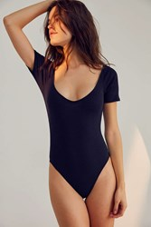 Out From Under Hailee Ribbed V Neck Bodysuit Black