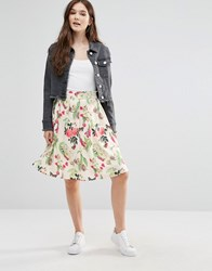 Yumi Flowers And Butterflies Skirt Off White