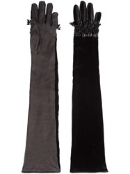 Dsquared2 Embellished Elbow Length Gloves Black