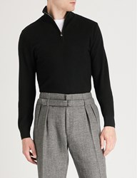 Ralph Lauren Purple Label Stand Collar Wool And Cashmere Blend Sweatshirt Classic Black