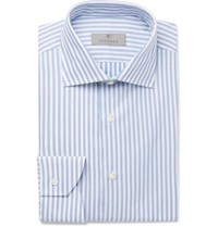 Canali Blue Slim Fit Striped Cotton Shirt Blue