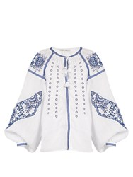 Vita Kin Owl Cutwork Embroidered Linen Blouse Blue White