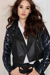 Nasty Gal Sea Of Sequins Vegan Leather Moto Jacket