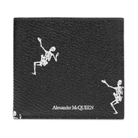 Alexander Mcqueen Dancing Skeleton Billfold Wallet Black