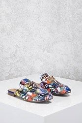 Forever 21 Butterfly Print Loafer Mules Blue