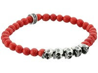 King Baby Studio 6Mm Red Coral Bead Bracelet With Skull Bridge Red Bracelet