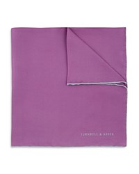 Turnbull And Asser Basic Solid Pocket Square With Border Lilac