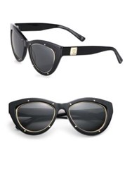 Mcm 53Mm Studded Cat's Eye Sunglasses Striped Cognac Black