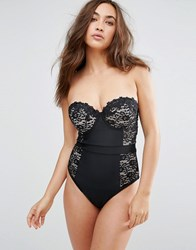 Asos Fuller Bust Premium Lace Cupped Swimsuit Dd G Black Nude