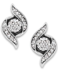 Wrapped In Love Diamond Twist Earrings In 14K White Gold 1 4 Ct. T.W.