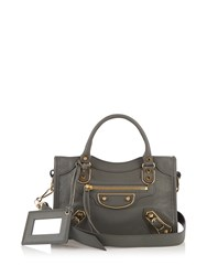 Balenciaga Classic Metallic Edge City Mini Leather Bag Grey