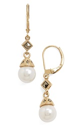 Judith Jack Faux Pearl Drop Earrings Pearl Marcasite