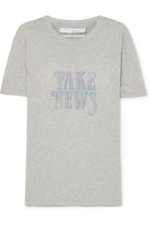 Iro Hothead Printed Cotton Jersey T Shirt Light Gray