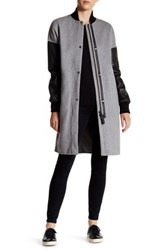 Mackage Genuine Leather Accent Wool Blend Coat Gray