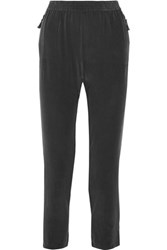 Joie Julietta Washed Silk Pants Straight Leg Black